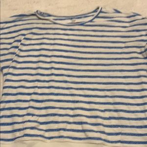 Cream and blue striped top